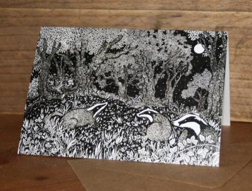 Badgers Beneath the Moon greetings card