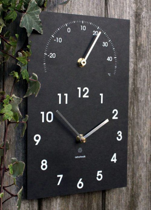 Recycled Clock with Thermometer